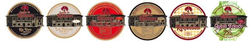 Etiquetas de las diferentes variedades de Quesos de Radiquero