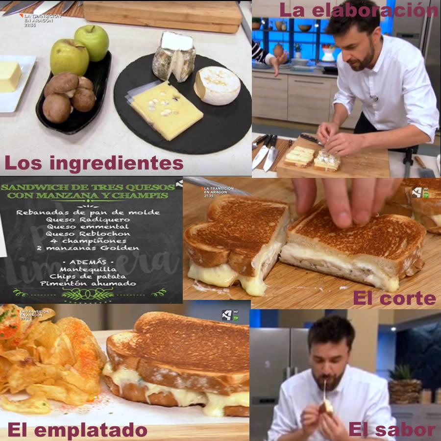 Sándwich tres quesos con Río Vero en el programa La pera limonera de Aragon TV
