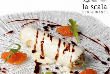 premios Horeca. Canelon de pularda y seta shitake con crema de parmesano y jugo de carne
